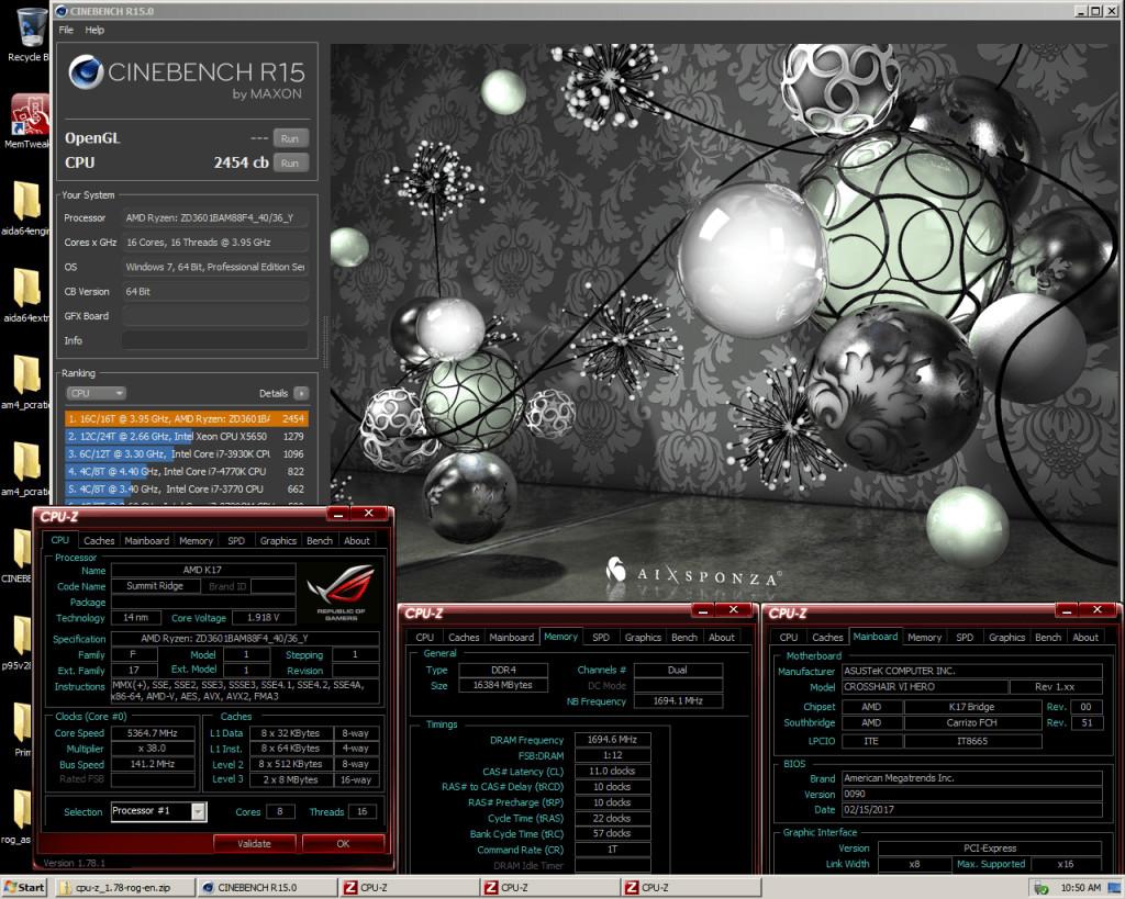 Nuevo récord mundial para  AMD Ryzen 7-1800X con Cinebench R15 con 5.36Ghz