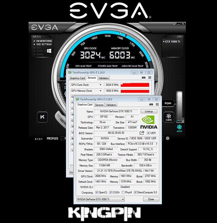 EVGA GeForce GTX 1080 Ti overclockeado a más de 3 GHz bajo LN2