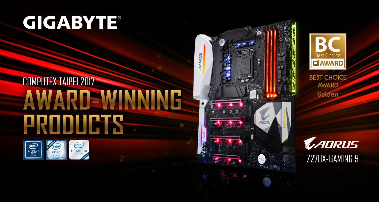NP: GIGABYTE AORUS Z270X-Gaming 9 gana el Premio de oro de Computex a la mejor elección 2017