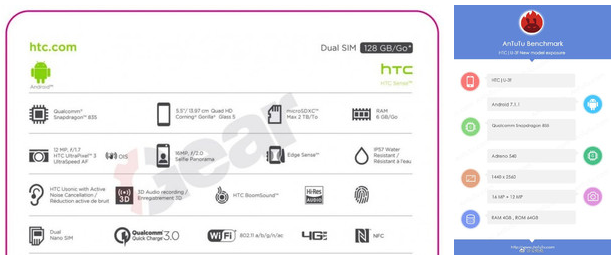 HTC U 11 avistado en AnTuTu, se confirman sus especificaciones