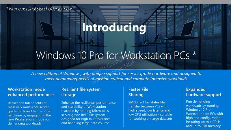 Microsoft presenta una variación de Windows 10 Pro para Workstations
