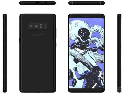 Samsung Galaxy Note 8 avistado en una nueva serie de renders