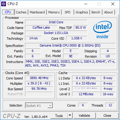 Intel Coffee Lake visto presuntamente en CPU-Z
