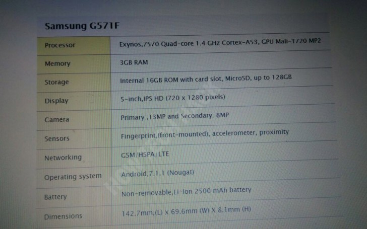 Samsung Galaxy J5 Prime (2017) muestra sus especificaciones