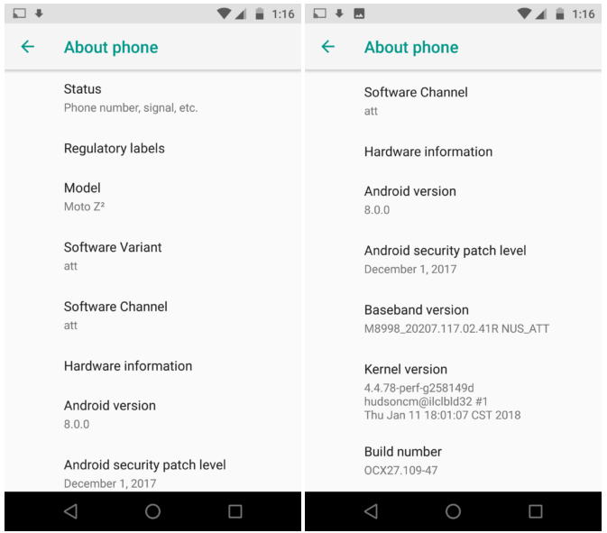 Motorola Moto Z2 Force actualizando a Android Oreo