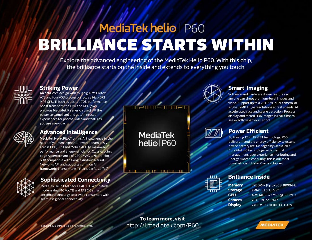 MediaTek presenta el Helio P60 con núcleo Cortex-A73 y un núcleo para IA