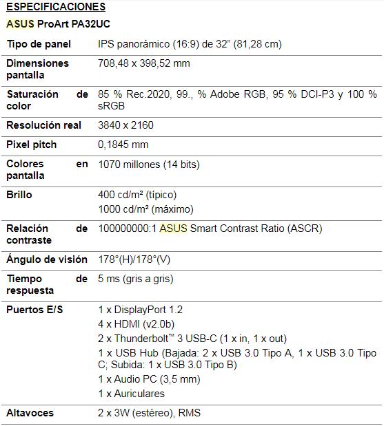 NP: ASUS presenta el ProArt PA32UC