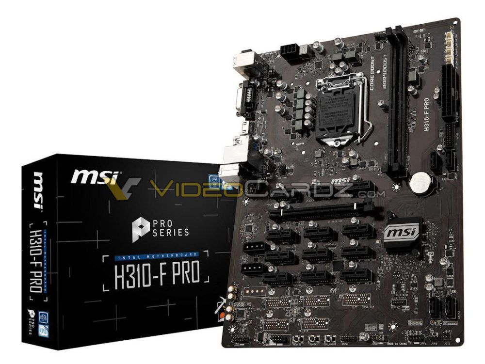 MSI H310-F PRO avistada: la primera placa base de minería para CPUs Coffee Lake