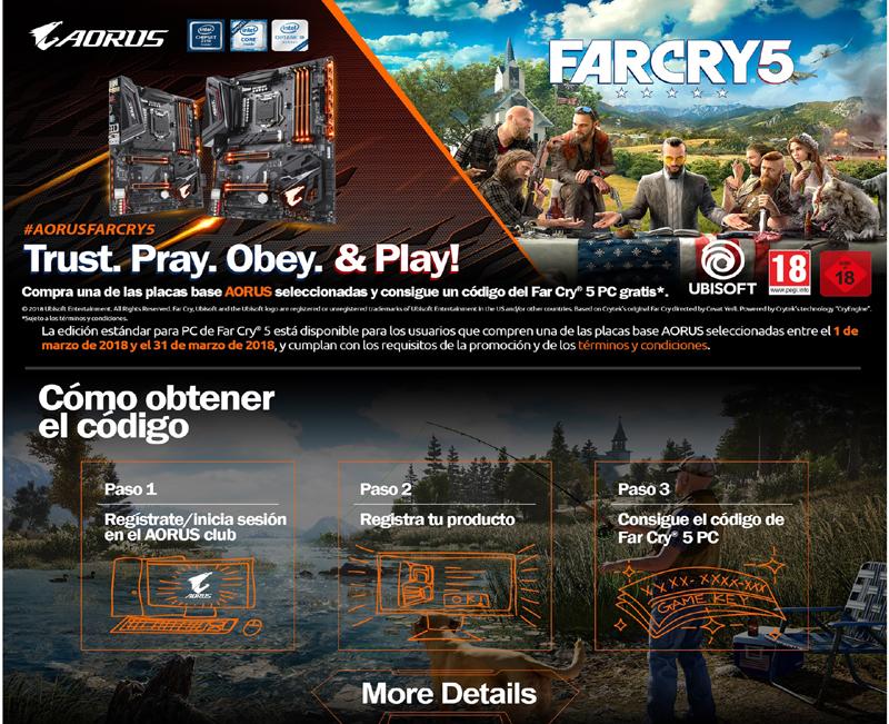 AORUS te regala una copia de Far Cry 5 para PC con la compra de una placa base Z370