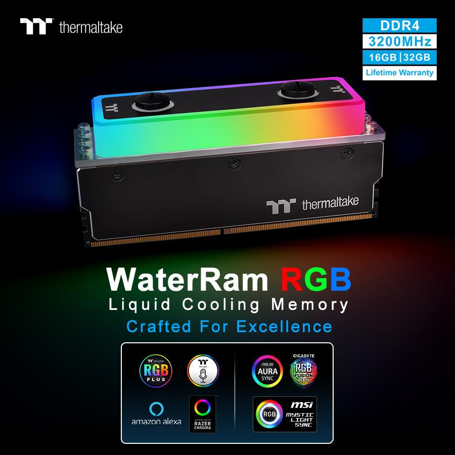 NP: Thermaltake ingresa oficialmente al mercado de la memoria - La memoria WaterRam RGB con refrigeración líquida DDR4 3200MHz 32GB/16GB