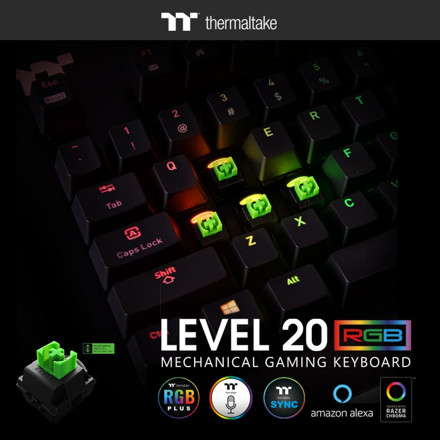 NP: Thermaltake Gaming llega al mercado con el teclado gaming Level 20 RGB Razer Green