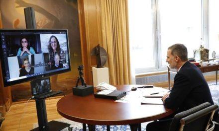 NP: Felipe VI, Brad Smith, presidente de Microsoft Corporation, y Pilar López, presidenta de Microsoft España, analizan cómo la tecnología puede ayudar a las personas y organizaciones en el contexto de la pandemia COVID-19