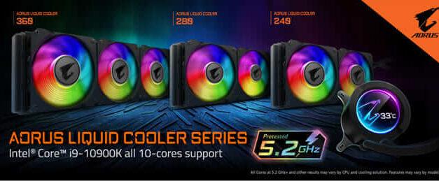 La serie AORUS LIQUID COOLER soporta el Core i9 10900K a 5.2GHz en todos los núcleos