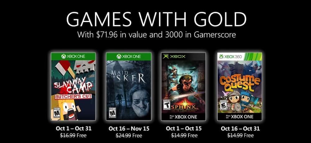 Anunciados los Games with Gold de octubre de 2020