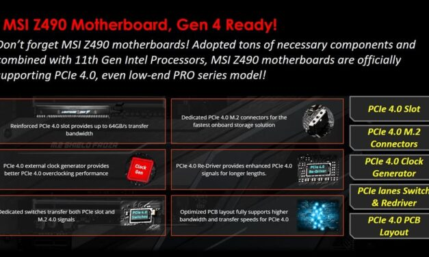 Las placas base MSI Z490 potencian el rendimiento de los dispositivos PCIe 4.0 y las unidades SSD