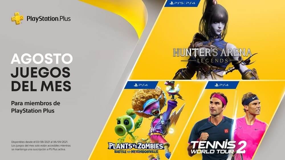 Hunter's Arena: Legends, Plants VS Zombies: Battle for Neighborville y Tennis World Tour 2, entre los títulos de agosto en PlayStation Plus